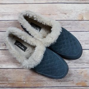 Clarks   Blue-Grey Quilted Faux Fur House Shoes